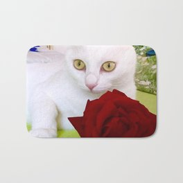 Tyche and the red rose Bath Mat