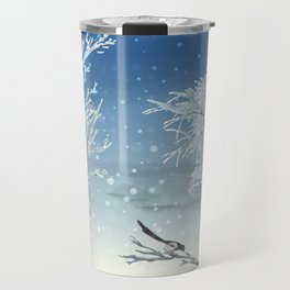 Magpie Winter Landscape Travel Mug