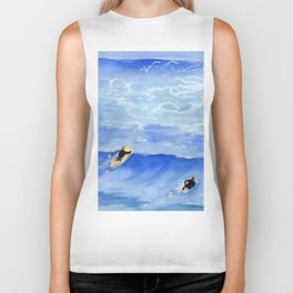 Getting ready to take this wave surf art Biker Tank