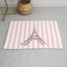 Pink Paris Eiffel Tower Rug
