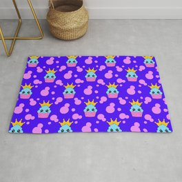 Little princess baby kawaii cupcakes, bold pink retro dots midnight blue girly seamless pattern Rug