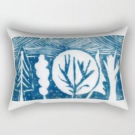 linocut trees print Rectangular Pillow