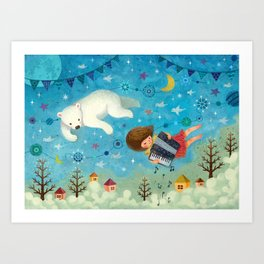 Travel the night sky Art Print