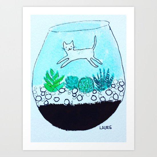 Terrarium Cat Art Print