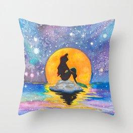 The Little Mermaid Galaxy Throw Pillow