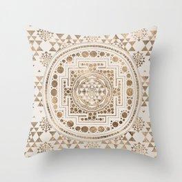 Sri Yantra  / Sri Chakra Pastel Gold Throw Pillow