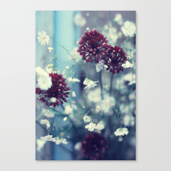 Flowers on Blue Canvas Print