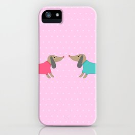 Cute dogs in love with dots in pink background iPhone Case