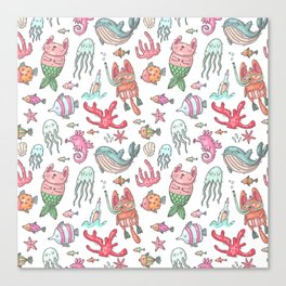 Hand painted pink teal nautical coral fish pattern Canvas Print