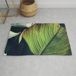 Fine Art Avant-Garde Palm Leaf With Red veins Rug