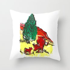 Big moo, wee moo (colored version) Throw Pillow