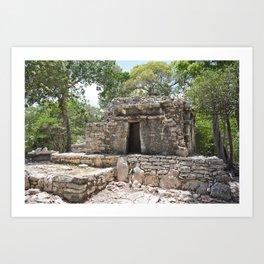 Xel-Ha Reserva Natural Mexico Mexican Archaeology Mayan Temple Maya Architecture Historical Jungle Art Print
