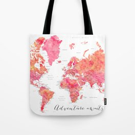 "Adventure Awaits watercolor world map in hot pink and orange, ""Tatiana"" Tote Bag"