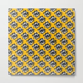 Floral pattern on yellow Metal Print