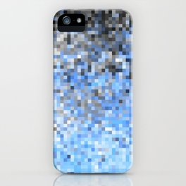 Baby Blue Gray Ombre Pixels iPhone Case