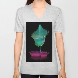 Pink and green composition Unisex V-Neck