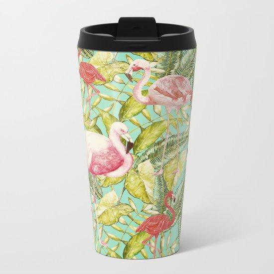 Aloha- Tropical Flamingo Bird and Palm Leaves Garden by #UtArt Metal Travel Mug