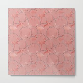 Walk with pink flamingos on coral pink Metal Print