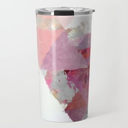 Pink white rosegold triangle pattern Travel Mug