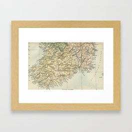 Vintage and Retro Map of Southern Ireland Framed Art Print