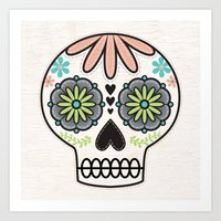 sugar skull Art Prints featuring Sugar Skull by Liz Urso