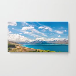 Most spectacular alpine scenery panorama at Mount Cook NP in New Zealand Metal Print