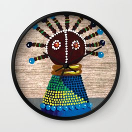 African kenyan doll in blue dress Wall Clock