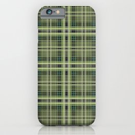 Yellow purple and green plaid iPhone Case