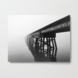 Train Bridge in the Fog-I B&W Metal Print