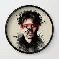 johnny depp Wall Clocks featuring Johnny Depp by Brigitta