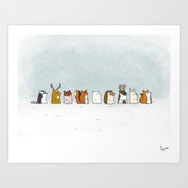 Winter forest animals Art Print