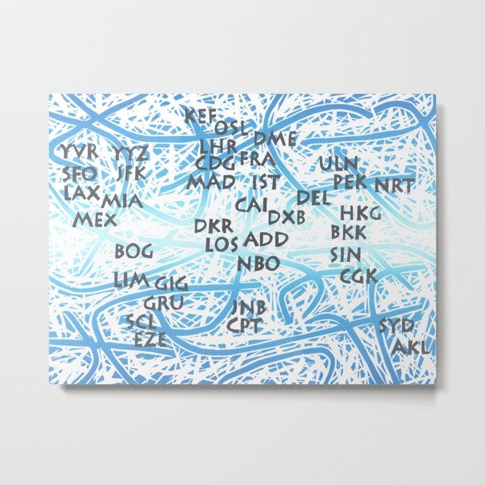 World Airport Code Map Metal Print