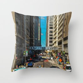 Cartoony Downtown Chicago Throw Pillow