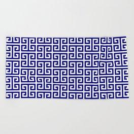 Navy and White Greek Key Pattern Beach Towel