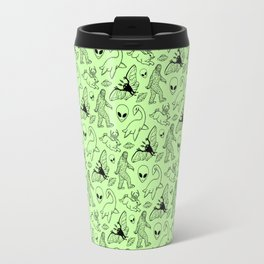 Cryptid Pattern: Black on Green Travel Mug