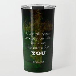 1 Peter 5:7 Uplifting Bible Verses Quote Travel Mug