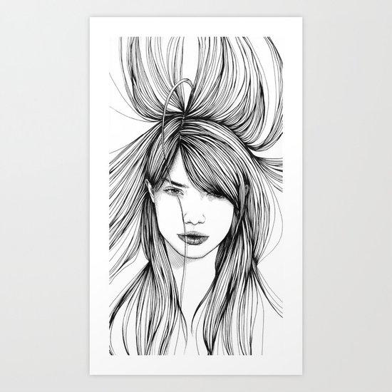 girls in the hair 3 Art Print