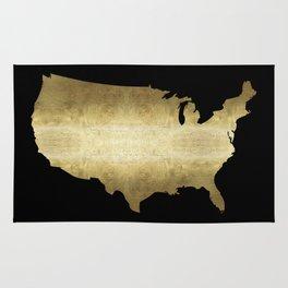 US map gold foil on black Rug