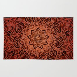 orange burst hippie boho mandala Rug