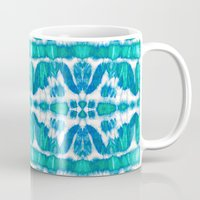 tie dye Mugs featuring Tie-Dye Twos Aqua by Nina May Designs