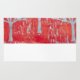 red dot tree forest Rug