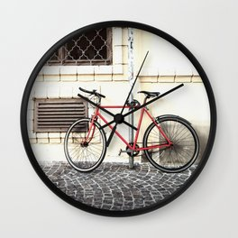 Bicycle standing on old street Wall Clock