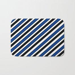 Black, navy and white team  colors Bath Mat