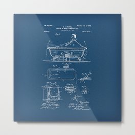 Rocking Oscillating Bathtub Patent Engineering Blueprint Metal Print