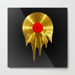 Melting vinyl GOLD / 3D render of gold vinyl record melting Metal Print