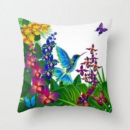 Tropical Hummingbird Pattern 1 Throw Pillow