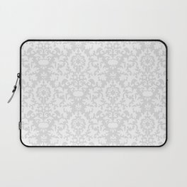 Vintage chic gray white abstract floral damask pattern Laptop Sleeve