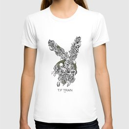 T.F TRAN CLASSIC FLORALS EASTER BUNNY WHITE EDITION T-shirt
