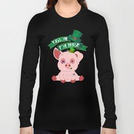 Kiss Me I'm Irish St Patricks Day Pig Long Sleeve T-shirt