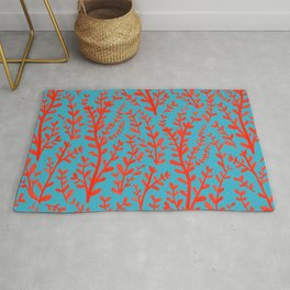 Turquoise and Red Leaves Pattern Rug